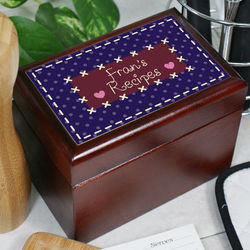 Personalized Quilted Recipe Card Box