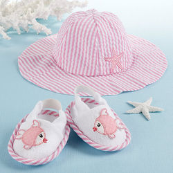Coastal Cutie Baby Girl Sun Hat and Spa Booties
