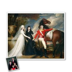 Colonel and His Sisters Custom Art Print Portrait from Photos