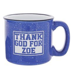 Personalized Thank God for You Campfire Mug in Cobalt