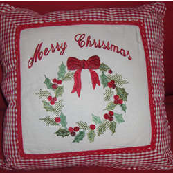 Personalized Merry Christmas Pillow with Embroidered Wreath
