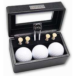 Sophisticated Black Leather Golf Gift Set