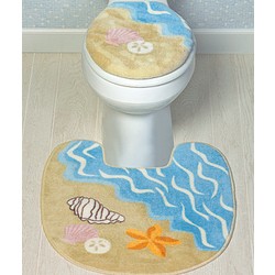 Seashell Toilet Lid Cover and Rug
