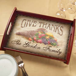 Personalized Give Thanks Holiday Serving Tray