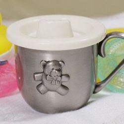 Personalized Teddy Bear Pewter Baby Cup