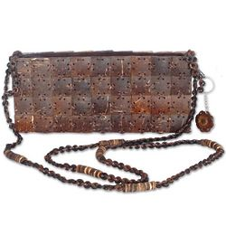 Square Charms Coconut Shell Shoulder Bag