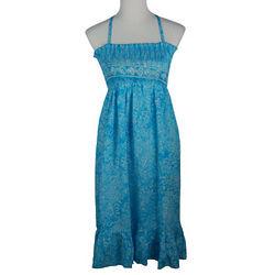 Blue Flower Batik Summer Dress