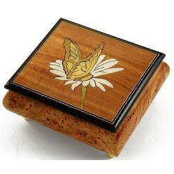 Natural Wood Tone Butterfly and Daisy Inlay Music Box