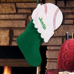 Embroidered Baseball Design Christmas Stocking