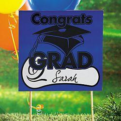 Blue Congrats Grad Yard Sign