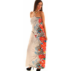 Beaded Halter Floral Maxi Dress