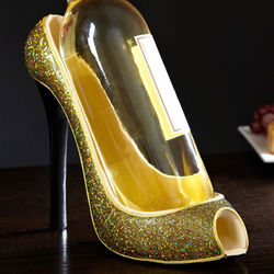 Razzle Dazzle Gold Shoe Wine Holder