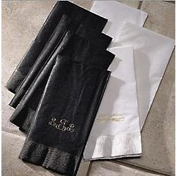 Personalized Cream and Gold Guest Hand Towels