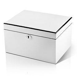 Ultra Sleek Pearl White Lacquer 36 Note Music Jewelry Box
