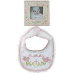 Bless this Baby Pink Bib and Photo Frame Gift Set