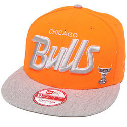 Men's Grey and Orange Chicago Bulls Team Script Strapback Hat