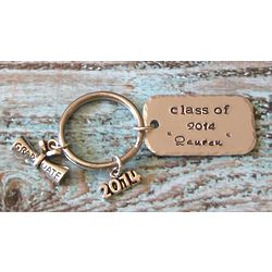 Hand Stamped Personalized Graduation Keychain