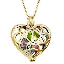 Gold Interlocking Hearts Locket with 6mm Round Birthstones
