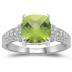 Peridot & Diamond Antique Filigree Ring in 14K White Gold