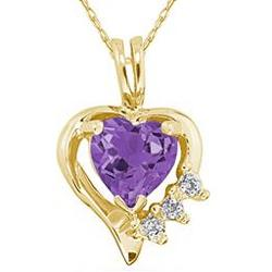 Heart Shape Amethyst and Diamond Gold Pendant