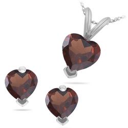 Heart Shape Garnet Set in 14K White Gold