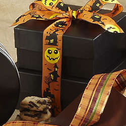 Black Box with Halloween Ribbon and Two Dozen Cookies