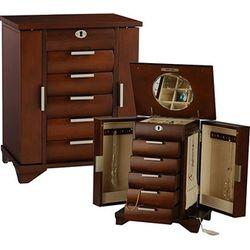 Tall Walnut Jewelry Box Armoire with Locking Necklace Storage