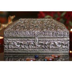 Floral Coffer Brass Jewelry Box