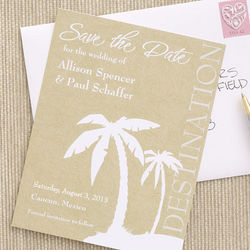 Destination Wedding Tropical Palm Trees Save the Date Cards