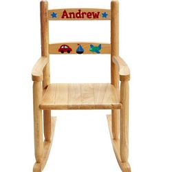 Personalized Transportation Themed Wooden Rocking Chair
