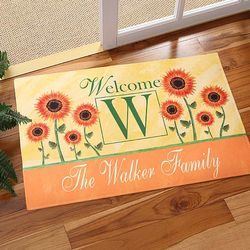 Summer Sunflowers Personalized Door Mat