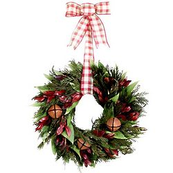 Holiday Plaid Rustic Bells Wreath