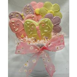 12 Hand Decorated Cookie Bouquet of Butterflies and Flowers