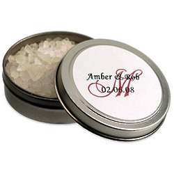 Fragrant Bath Salts Favor with Personalized Tin