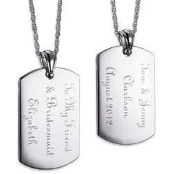 Silvertone Engraved Dog Tag Necklace