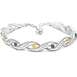 Green Bay Packers Bracelet with Team Color Crystals