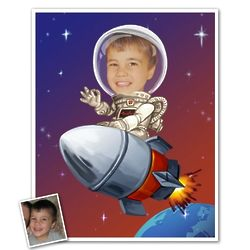 Astronaut Caricature Custom Art Print from Photo