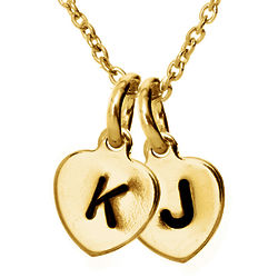 Personalized Double Mini Gold Heart Tag Necklace