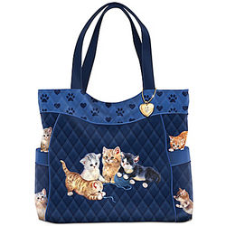 Kitty Kat Cute Quilted Tote Bag with Paw Print Trim