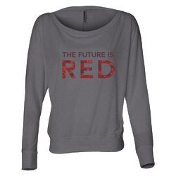 Mars: The Future is Red Women's Gray Long Sleeve Scoop Neck Shirt