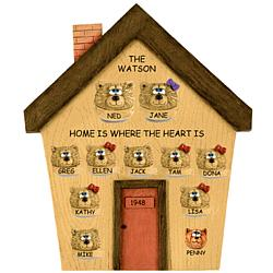 Personalized Teddy Bears on House Plaque