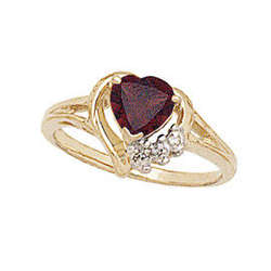 Heart-Shaped Gold Garnet & Diamond Heart Ring