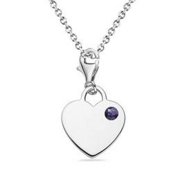 Amethyst Solitaire Multi-Purpose Heart Charm Pendant in Silver