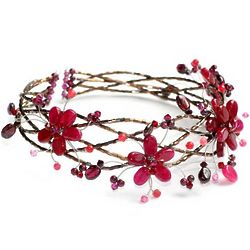Three Red Blossoms Garnet Choker
