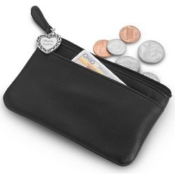 Leather Coin Purse with Engravable Heart Charm