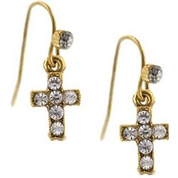 Gold and Crystal Cross Wire Drop Earrings