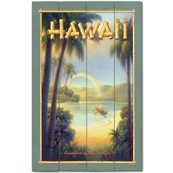 Hawaiian Rainbow Wood Plank Sign