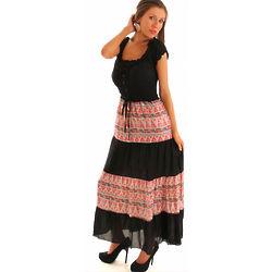 Pink Boho Smocked Maxi Dress