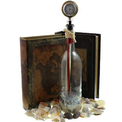 Timeless Love Message in a Bottle with Clock