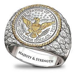 Engravable Barber Silver Quarter Men's Ring